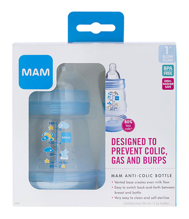 Mam Anti Colic Bottle 2 Pack 5oz - Blue