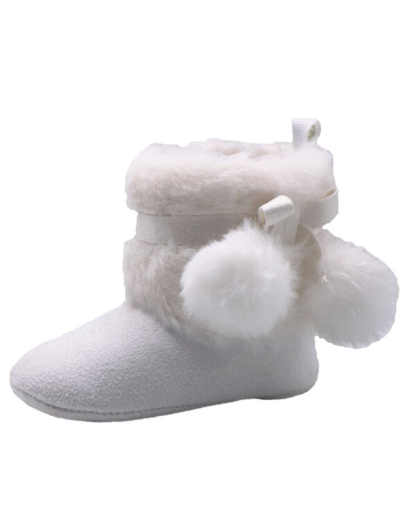 First Steps White Faux Fur Girls Booties Size 1, 0-3 months