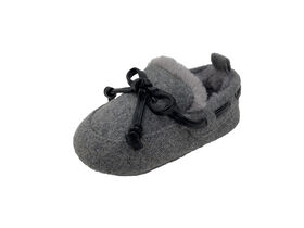 First Steps Charcoal Grey Slippers Size 3, 6-9 months