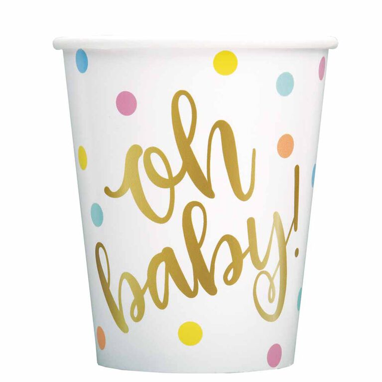 """""""Oh Baby"""" 9oz Paper Cups 8 pieces - English Edition"""