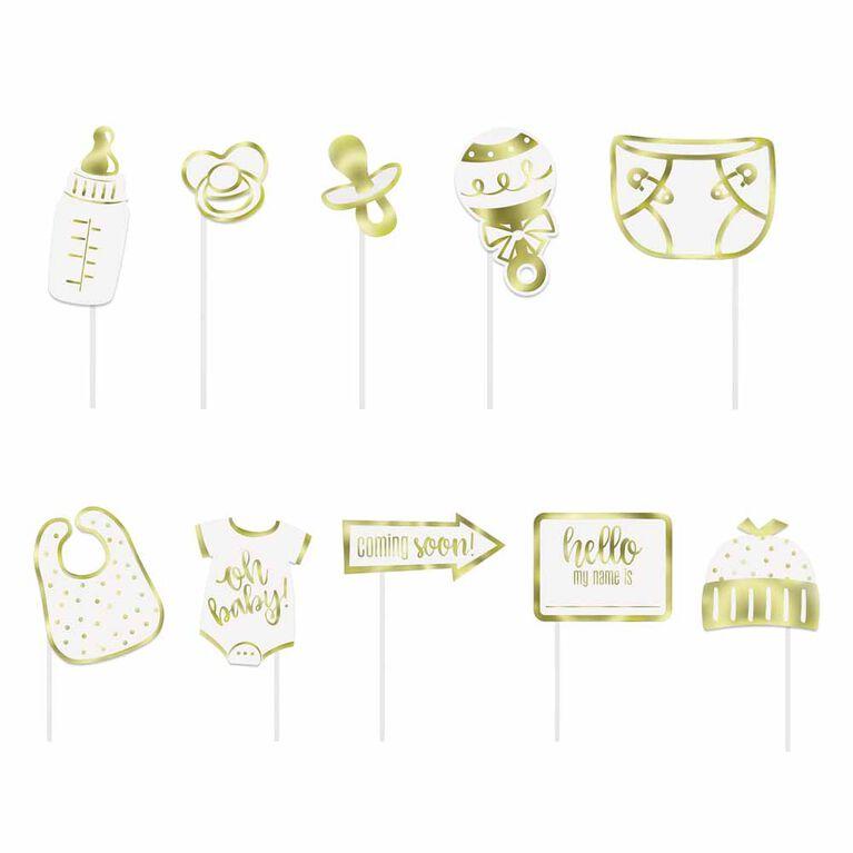 Accessoires Photo, 10Pc - Dorure À Chaud - Gold Baby Shower - Édition anglaise