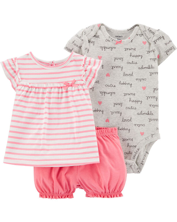 Carter's 3-Piece Striped Diaper Cover Set - Pink/Grey, 6 Months