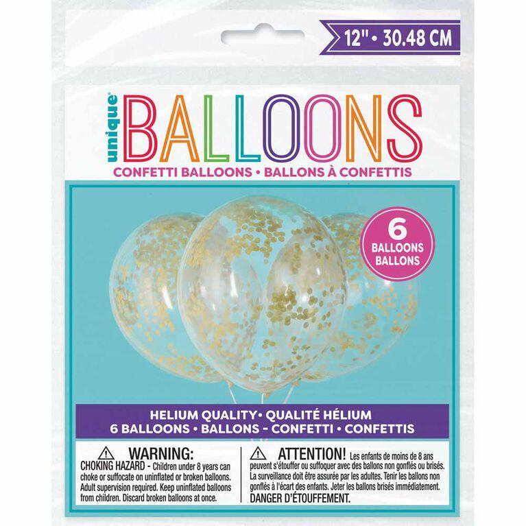 6 Ballons En Latex Transparents Avec Confettis Dorés 12 ``- Pré-Remplis