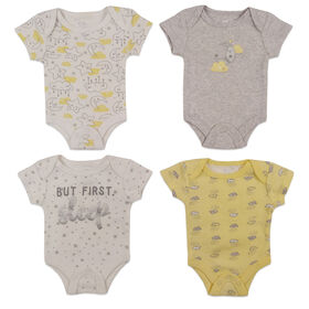 Koala Baby 4-Pack Bodysuit - Yellow, Preemie