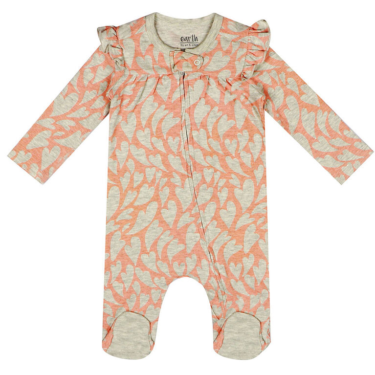 earth by art & eden - Aurora Coverall - Flutter Coverall - Cream Heather Multi, 6 Months