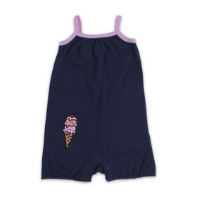 Snugabye Sleeveless Romper - Ice Cream - Navy, 3-6 Months