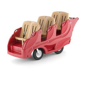 Foundations Gaggle 6 Multi-Passenger Buggy with Soft-Stop Brake;Red/Tan