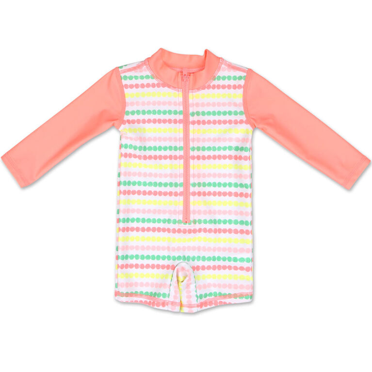 Koala Baby Long Sleeve 1Pc Coral Stripe Romper 6-9 Months