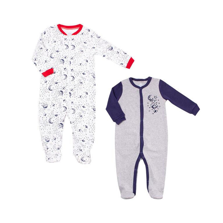 Koala Baby Boys 2-Pack Sleeper- Night Sky 0-3 Months