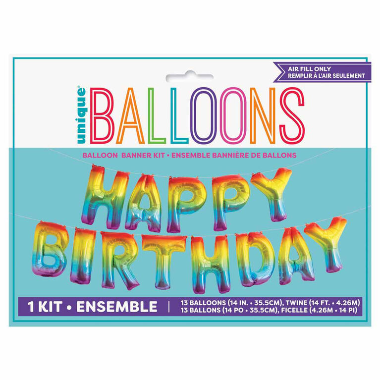 "Rainbow""Happy Bday"" Balloon Banner 14"" - English Edition"