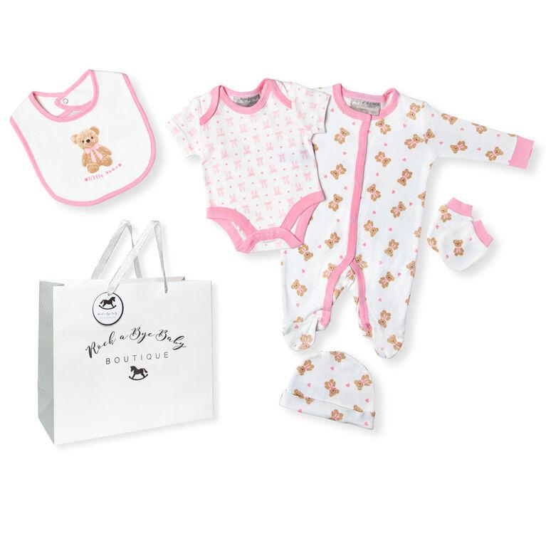 Rock a Bye Baby Boutique  - Girls Little Bear Footie 5-Piece Set - 0-3 Months