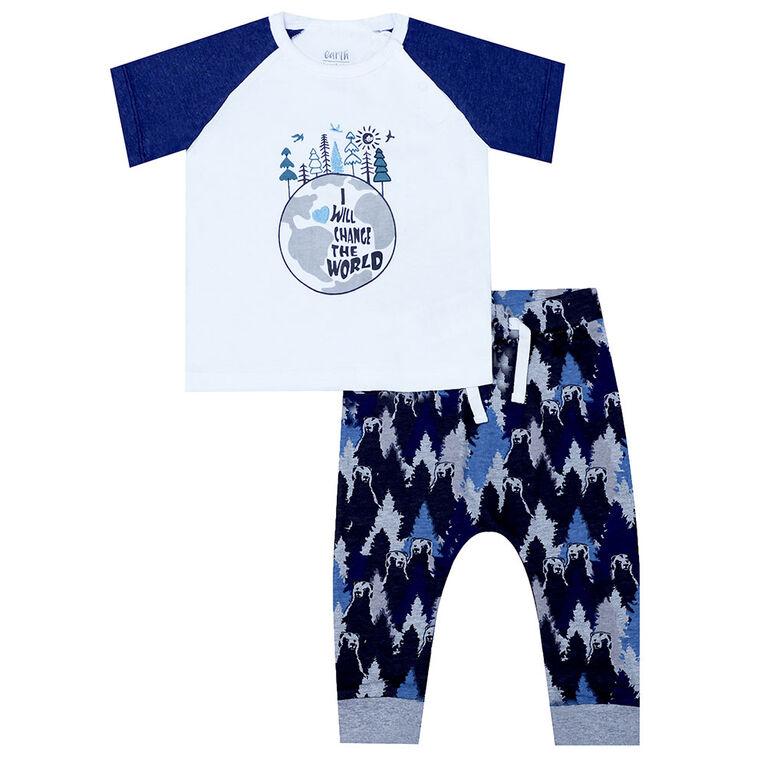 Earth by Art & Eden - Ensemble de 2 leggings Paul - Blanc/Bleu, 9 mois