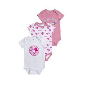 Snugabye Toronto Blue Jays 3 Piece Pink Infant Bodysuit Set 3 Months