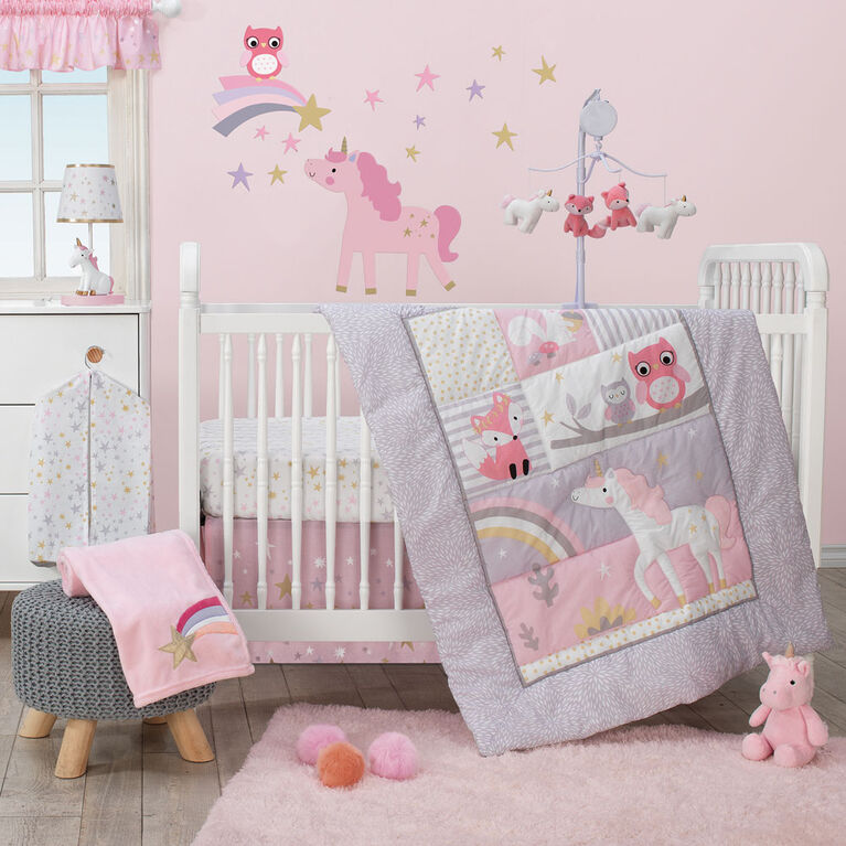 Bedtime Originals - Rainbow Unicorn Plush Unicorn - Pearl - Pink