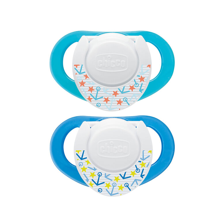 Chicco NaturalFit 2-Pack Deco Orthodontic Pacifier 4 Months+ - Blue