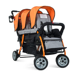 Foundations Splash of Colour Trio Sport 3 Passenger Stroller - Orange