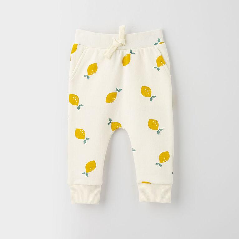 drop-crotch cozy sweats, 9-12m - white