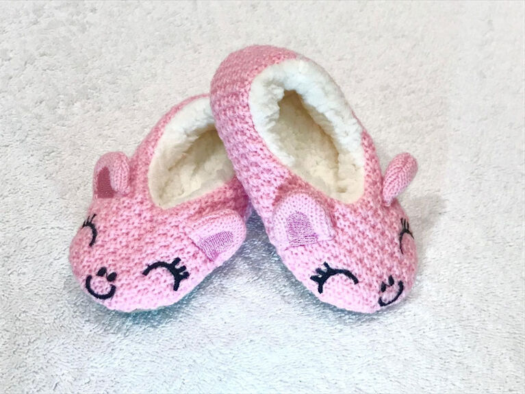 Tickle Toes - Pink  Knit Slippers - 12-18 Months