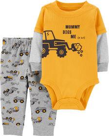 Ensemble 2 pièces cache-couche à tracteur et pantalon – jaune, 9 mois