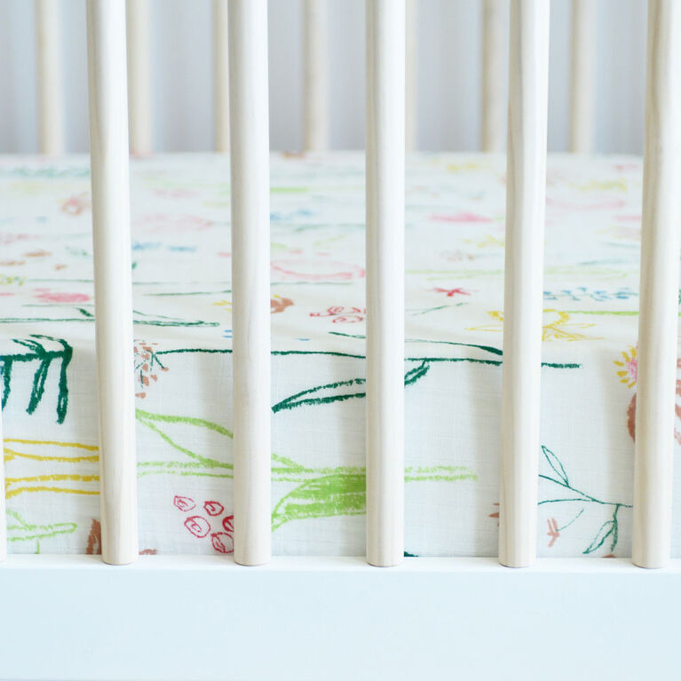 Red Rover - Cotton Muslin Crib Sheet - Pastel Petal - R Exclusive