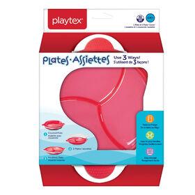 Assiettes Playtex sans BPA s'utilisant de 3 façons pour bébés de 4 mois et plus (une assiette et un couvercle) - rose.