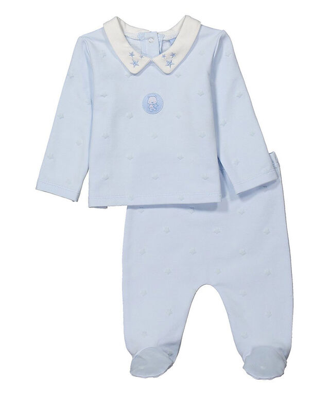 Rock a Bye Baby - Boys 2 Piece Footed Pant Set : Star - 0-3 Months