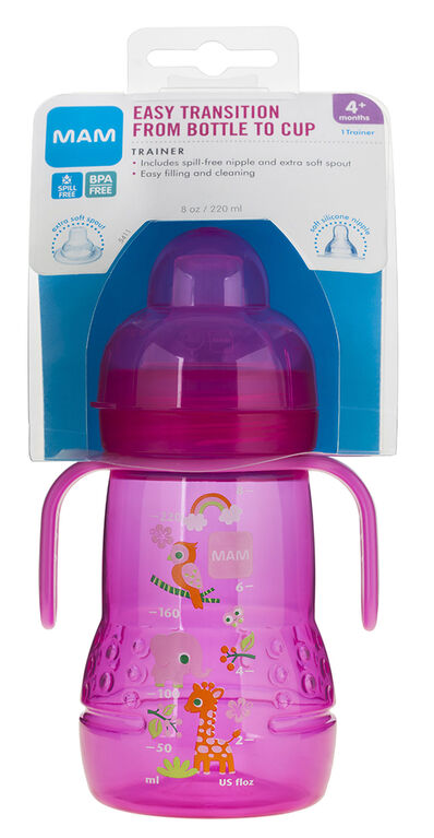 Mam Trainer Cup With Nipple And Extra Soft Spout, 8oz - Pink