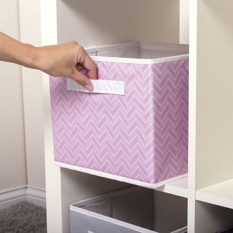 Pink Herringbone Canvas Storage Bin
