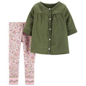 Carter's 2-Piece Sateen Button-Front Top & Floral Legging Set - Olive, 3 Months