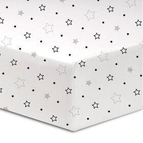 Koala Baby - Paquet de 1 drap de lit en flanelle étoiles gris / noir