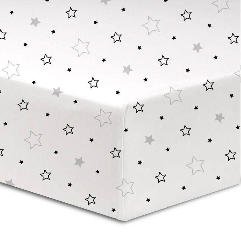 Koala Baby - Flannel 1 Pack Grey/Black Stars Crib Sheet