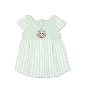 Koala Baby Short Sleeve Bunny Green Striped Dress - 0-3 Months