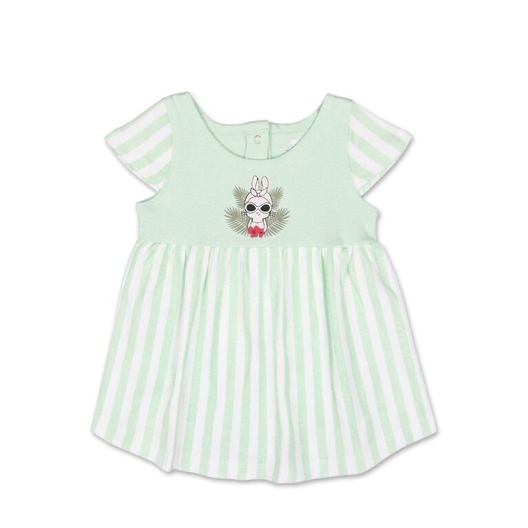 Robe manches courtes à rayures vertes avec motif Bunny de Koala Baby, 0-3 Mois