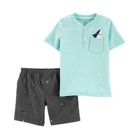 Carter's 2-Piece Henley Top & Shark Short Set - Blue, 6 Months