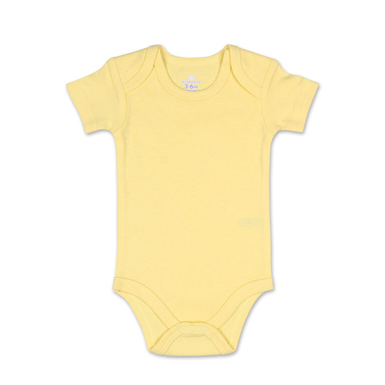 Koala Baby 4Pk Short Sleeved Solid Bodysuits, Yellow/Green/Heather Grey/White, Size Preemie