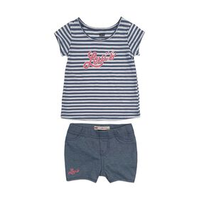 Levis Short Set - Navy Heather Pink, 18 Months