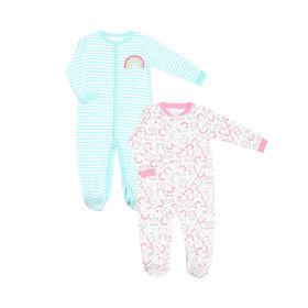 Koala Baby Girls 2-Pack Sleeper- 'Rainbow/Bunny' Teal, Pink  Preemie