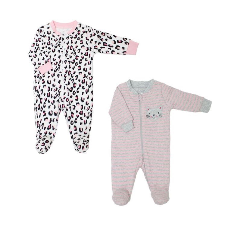 Koala Baby Girls 2 Pack Sleeper - Leopard Pink, 9 Months