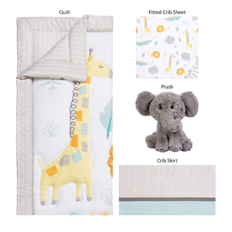 Sammy & Lou Jungle Pals 4 Piece Crib Bedding Set