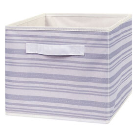 Gray Stripe Canvas Storage Bin