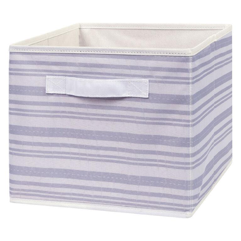 Gray Stripe Canvas Storage Bin