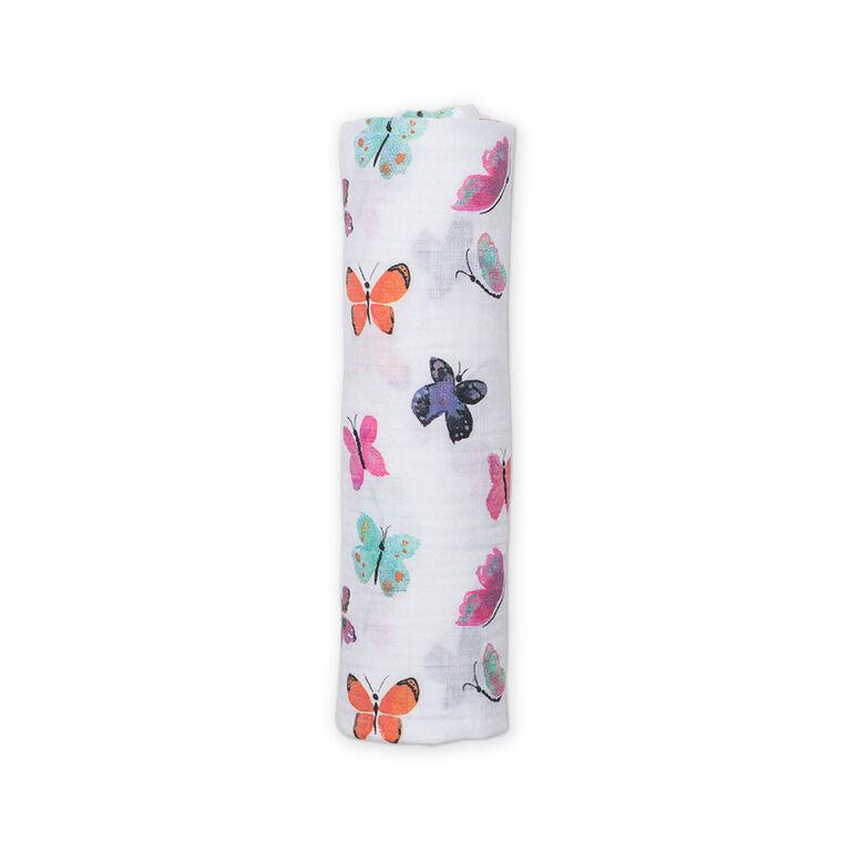 Couverture à langer en mousseline de Lulujo – Papillon.