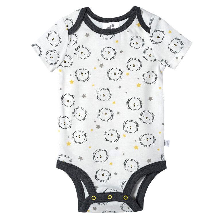 Lot de quatre maillots biologiques Onesies à manches courtes pour nouveau-né garçon – Petit Lion nouveau-né