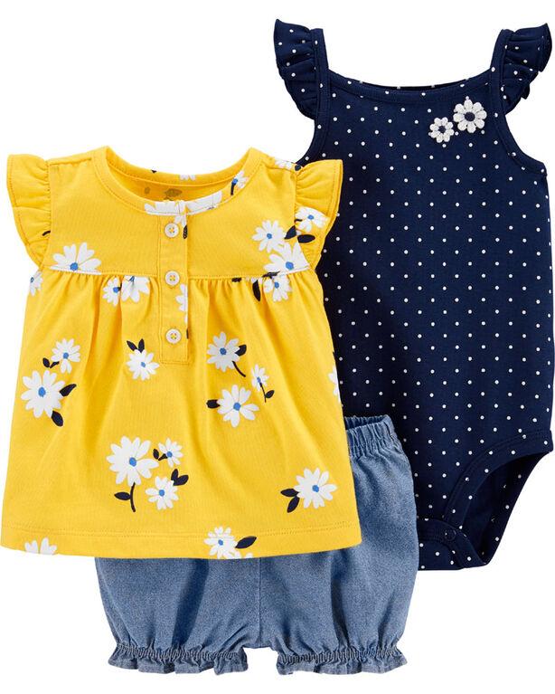 Ensemble 3 pièces couvre-couche fleuri Carter's – jaune/marine/bleu, 18 mois