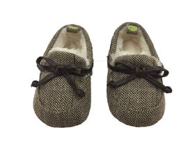 First Steps Brown Herringbone Slippers Size 3, 6-9 months