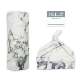 Lulujo - Hello World Blanket Set - Marble