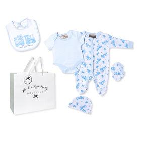 Rock a Bye Baby Boutique - Photoprint Bear &Train Footie 5 Pc Set - Newborn
