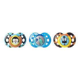 Tommee Tippee Day & Night Pacifier 3-Pack, 18-36 Months - Monkey