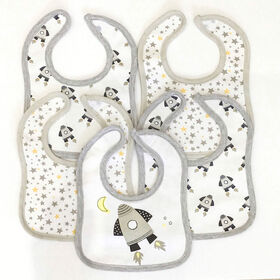 Koala Baby - Jersey Bibs Spaceship - 5 Pack - Grey