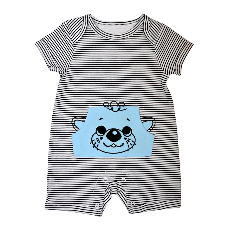 Fisher Price Striped Romper - Blue, 6 Months